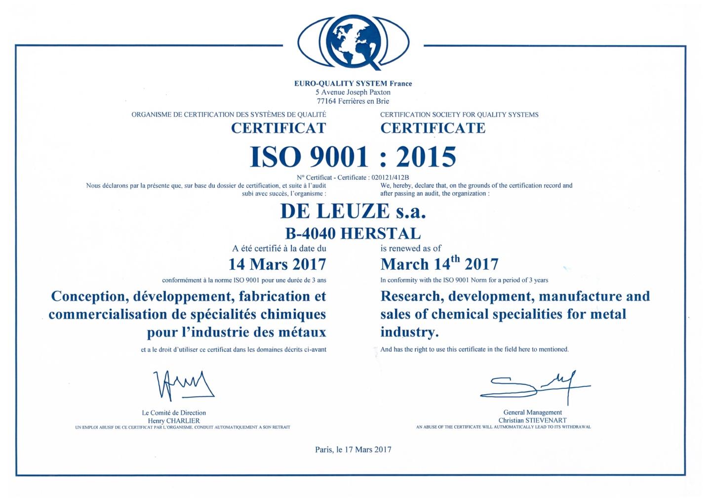 De Leuze Iso 9001 certification 2015