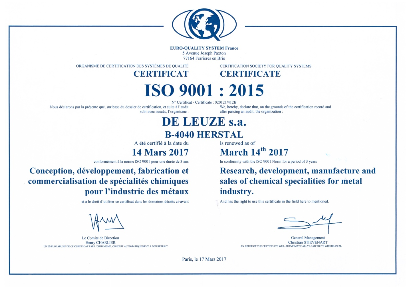 De Leuze Iso 9001 certification 2015