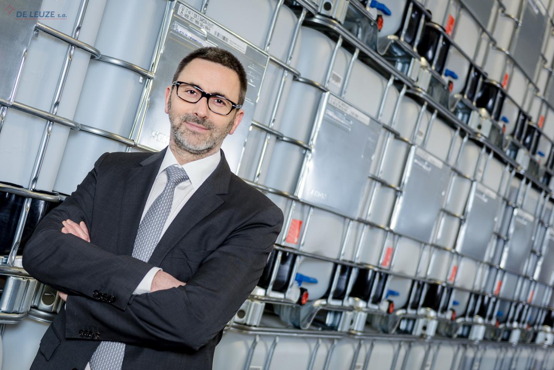 Erard de Leuze standing in front of overpickling inhibitors stock
